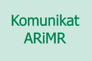 Grafika zawiera tekst Komunikat ARiMR
